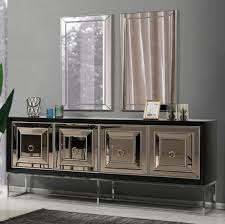casa padrino luxus sideboard mit 4 verspiegelten türen schwarz silber 208 x 49 x h 88 cm luxus wohnzimmer möbel