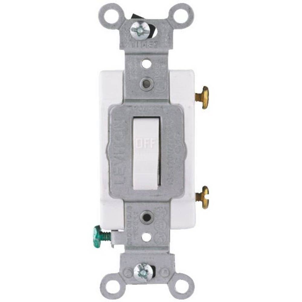 Leviton Commercial Grade Toggle Switch - White, 20amp