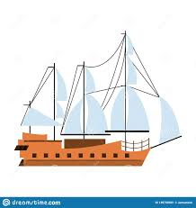 100 Pirate Ship Design Boat Side View Isolated Cartoon Stock Vector