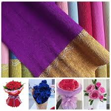 1PC 50 X 250cm Gold Edge Crepe Paper Flowers Wrapping DIY Party Decoration Backdrop Streamer Crafts