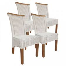 details zu esszimmer stühle set rattanstühle perth 4 stück weiß sitzkissen leinen weiß