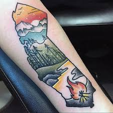 Simple Foesrt Scene With Fire And Lake Tattoo On Forearm Male