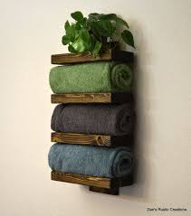 Rustic Wood Bathroom Towel Rack 4 Tier Shelf Dark Walnut Finish On Etsy 6500