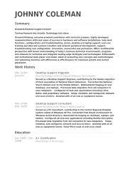 Desktop Support Engineer Resume Example