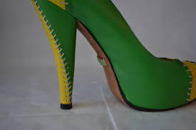 l a m b pumps l a m b high heels in green black and yellow size