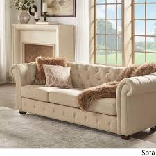 Tufted Sofa And Loveseat by Knightsbridge Beige Fabric Button Tufted Chesterfield Sofa And