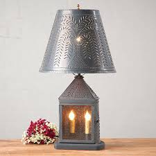 Mexican Punched Tin Lamp Shades by Tin Table Lamps Punched Tin Harbor Table Lamp With Willow Shade