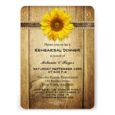 Country Style Wedding Rehearsal Dinner Invitation With A Radiant Sunflower On Rustic Wood Background
