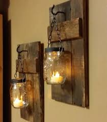 Rustic Wood Candle Holder Decor Sconce Lantern Mason Jar Candles For The Hall Way