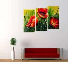 RED POPPIES FLORAL ACRYLIC PAINTING 3 PIECE WALL ART