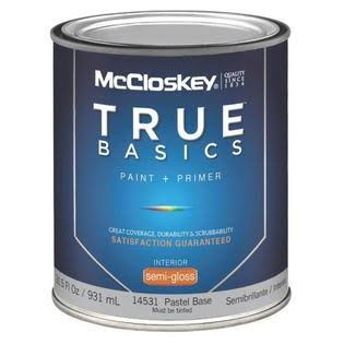 McCloskey True Basics Latex Paint and Primer Semi-Gloss Interior Wall Paint - 14531 Pastel Base, 931ml