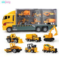 100 Truck Carrier Big 6PCS Mini Alloy Diecast Car Model 164 Scale Toys