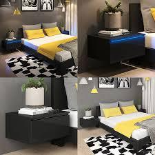 vicco nachttisch led nachtschrank kommode schlafzimmer schwarz hochglanz
