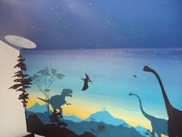 T Rex Dinosaur Painted Wall Mural For Boys Bedroom