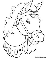Coloring Pages Printable Horse Picture Print Color Head Contemporary Simple Worksheet Learning For Children Kindergarten