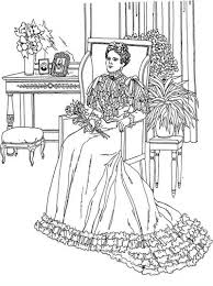 Complex Adult Coloring Pages Of Victorian Woman