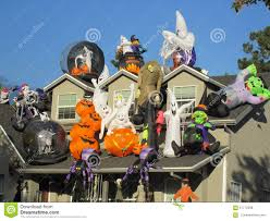 Large Blow Up Halloween Decorations by House Covered In Huge Halloween Decorations Stock Photo Image