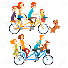 Two Happy Families Riding On Tandem Bicycles With Three Seats Rh 123rf Com