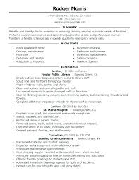 Janitorial Sample Resume Examples For Janitor Position Custodian