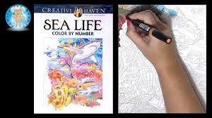 Creative Haven Sea Life Adult Coloring Book Color By Number Fish