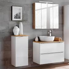 badezimmermöbel set mit led spiegelschrank toskana 56 weiß hochglanz