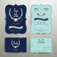 Navy Blue Wedding Invitation Card With Save The Date Set On Wood Background Stock Vector