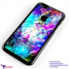 Galaxy Nebula Cracked Out Broken Glass Personalized iPhone 7