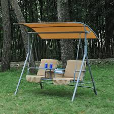 Outsunny Patio Furniture Instructions by Outsunny 2 Person Covered Patio Swing W Pivot Table U0026 Storage