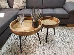 beistelltisch couchtisch wohnzimmer tisch rund ø 40 50 cm amsterdam metall gestell schwarz matt