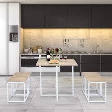 costway 5 teilige essgruppe esszimmergarnitur tischgruppe kuechentisch und 4 stuehle mit metallbeinen ideal fuer kueche esszimmer platzsparend