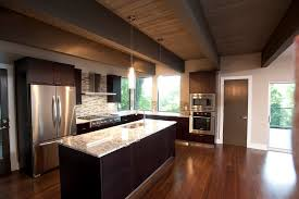 Dark Wood Interior Cozy Home White Galaxy Granite Kitchen Modern With Cabinets Exposed