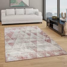 teppich wohnzimmer kurzflor boho vintage design rauten muster in grau rot
