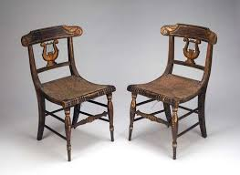 Lyre Back Chairs Antique by Pair Of American Federal Painted Lyre Back Chairs For Sale At 1stdibs