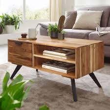 couchtisch 95x45x45 cm akazie wohnzimmertisch massivholz rechteckig holztisch mit stauraum sofatisch mit schublade tisch wohnzimmer massiv