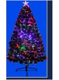 Fiber Optic 72 Green Artificial Christmas Tree With Multi Colored Lights Stand