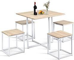 costway 5 teilige essgruppe esszimmergarnitur tischgruppe küchentisch und 4 stühle mit metallbeinen ideal für küche esszimmer platzsparend