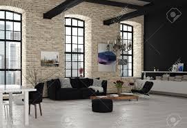 moderne architektur design wohnzimmer mit kronleuchter mit schwarzweiss möbeln eingerichtet