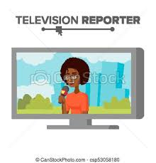 News Reporter Vector Beautiful Smiling Female Television Isolated On White Cartoon