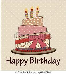 Vector birthday cake vintage style