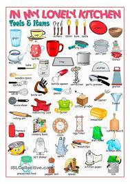 the list of names of kitchen items in englisch