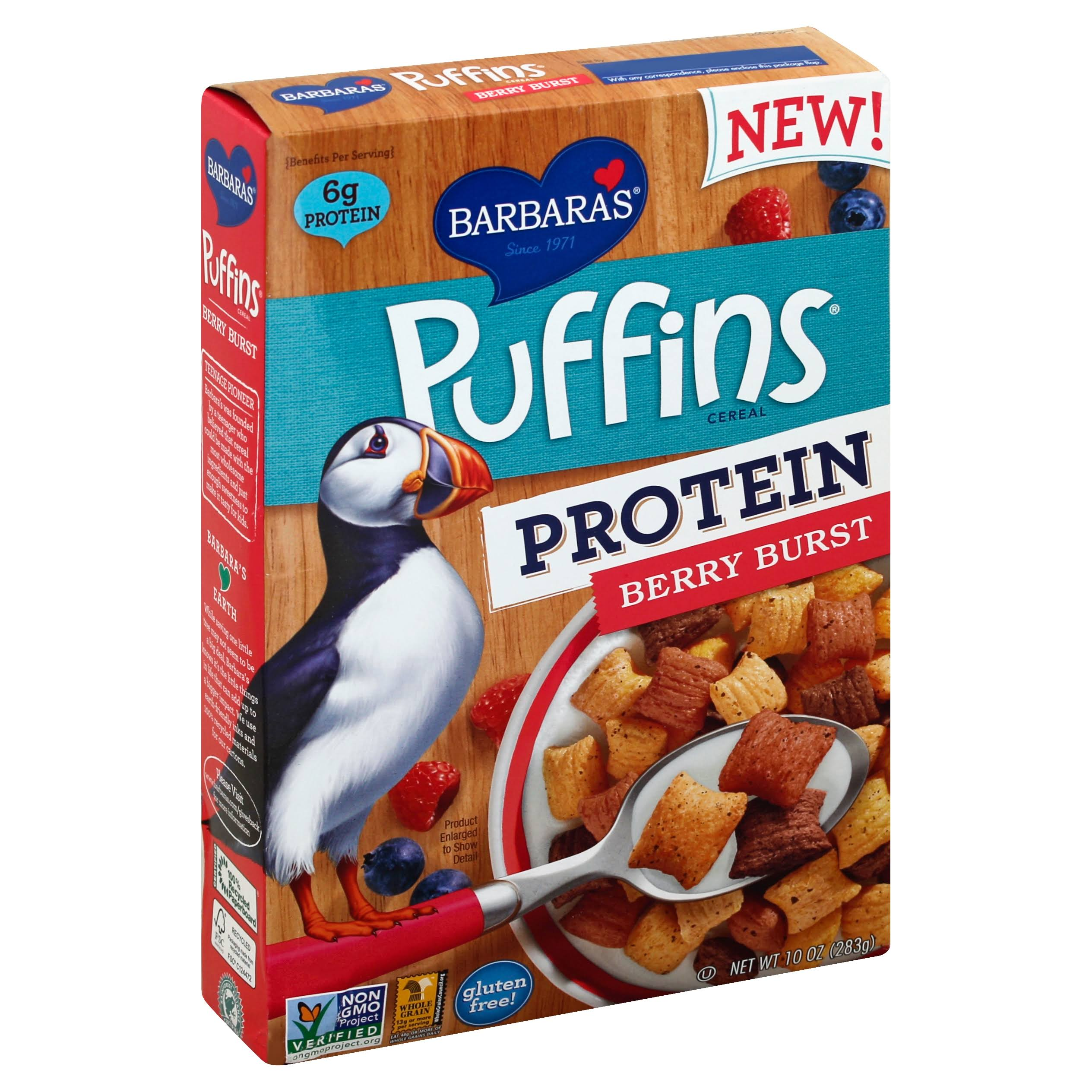 Barbaras Puffins Cereal, Protein, Berry Burst - 10 oz