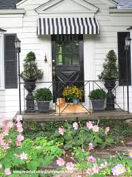 Simple Details: Diy Black And White Awning Reveal... Metal Front Porch Awnings Door Wooden Awning Wood For Home Pergola Design Fabulous Alinum Pergola With Retractable Canopy Pop Up Uk Gazebo White Carrying Bag White Pella Windows With Awning Matched Faux Brick Wall For Decor Exterior Design Sensational Wall X Tent W 4 Removable Window Side Vintage Trailer From Oldtrailercom 72018 Sunbrella Shade Collection Beneficial Patio Your Perfect Day Patio Closeup Of Bluewhite Striped Above Blue Front Door In Guard Protect Your Rv The Sun And Weather