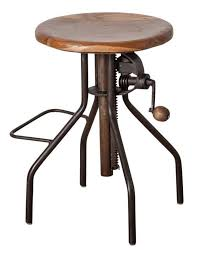 Iron Metal Bar Stool Kitchen Chair Swivel Crank Adjustable Rustic Industrial New
