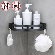 wand saug badezimmer regale wc lagerung schwarz dusche ecke rahmen shoo halter aluminium seife lagerung regal bанная kомната