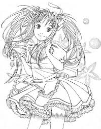 600x766 Hard Coloring Pages Anime Girls Kawaii People