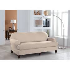 Sure Fit Stretch T Cushion Sofa Slipcover by Sure Fit Stretch Stripe T Cushion Two Piece Sofa Slipcover Hayneedle