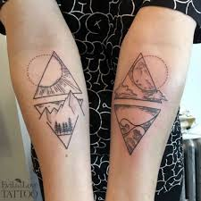 Mountain Tattoo Day And Night Line Work Dot Ocean