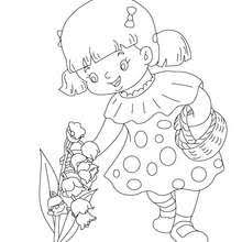 Lily Of The Valley Basket Girl Collecting Coloring Page