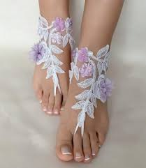 White Lilac Flowers Lace Barefoot Sandals FREE SHIP Beach Wedding Shoes Shoe Bridesmaid Gift 2663145