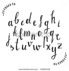 Script Font Hand Drawn Rustic Alphabet Vector Illustration